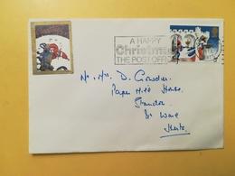 1973 BUSTA GRAN BRETAGNA GREAT BRITAIN BOLLO NATALE CHRISTMAS ANNULLO STEVENAGE OBLITERE' ETICHETTA - 1952-.... (Elisabetta II)