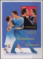 AZERBAÏDJAN Bloc 37 ** MNH Patinage Artistique Couple Danse Tanz Dance Qordeyeva Et Qrinkov JO Nagano 1998 [GR] - Eiskunstlauf