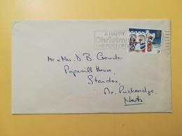 1973 BUSTA GRAN BRETAGNA GREAT BRITAIN BOLLO NATALE CHRISTMAS ANNULLO REDFORD OBLITERE' ETICHETTA - 1952-.... (Elisabetta II)