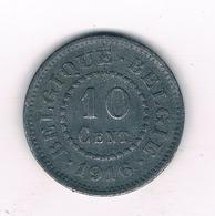 10 CENTIMES 1916  BELGIE /8870/ - 1909-1934: Alberto I