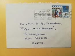 1973 BUSTA GRAN BRETAGNA GREAT BRITAIN BOLLO NATALE CHRISTMAS ANNULLO RUGBY OBLITERE' ETICHETTA - 1952-.... (Elisabetta II)