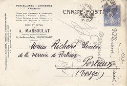 A . Marsoulat ,porcelaines à Villeneuve Sur Lot , Lot Et Garonne ;correspondance De 1930 - Francia