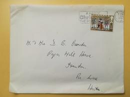 1973 BUSTA GRAN BRETAGNA GREAT BRITAIN BOLLO NATALE CHRISTMAS ANNULLO MEDWAY OBLITERE' ETICHETTA - 1952-.... (Elisabetta II)