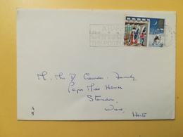 1973 BUSTA GRAN BRETAGNA GREAT BRITAIN BOLLO NATALE CHRISTMAS ANNULLO ROYSTON OBLITERE' ETICHETTA - 1952-.... (Elisabetta II)
