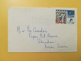 1973 BUSTA GRAN BRETAGNA GREAT BRITAIN BOLLO NATALE CHRISTMAS ANNULLO  OBLITERE' ETICHETTA - 1952-.... (Elisabetta II)