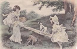 Illustrateur - Enfants Et Chien Sur Une Balançoire - Colorisée (lot Pat  90 ) - Illustrateurs & Photographes