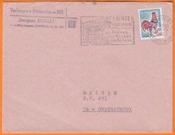 """"""" TECHNIQUE Et DECORATION Du SOL """" Sur Enveloppe PUB De 17 SAINTES Postée Le 2 3 1967 Avec Omec Sécap + Coq Decaris 30c - Advertising"""