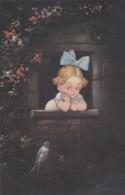Illustrateur  Colombo? - Petite Fille à La Fenêtre Qui Regarde Un Oiseau  (lot Pat  90 ) - Illustratori & Fotografie