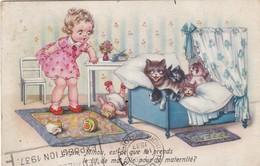 """CARTE FANTAISIE. CPA . ILLUSTRATION. """" MINOU EST CE QUE TU PRENDS LE LIT DE MA FILLE POUR LA MATERNITE ? """" .ANNEE 1937 - Cats"""