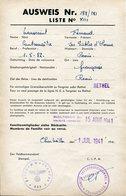 Ardennes.AUSWEIS. 1941 REVIN Pour Passage Zone Interdite à RETHEL - 1939-45