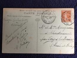 FRANCE  TIMBRE 25 C  OBLITÉRATION  CONVOYEUR DE CHALINDREY A MIRECOURT - Frankreich