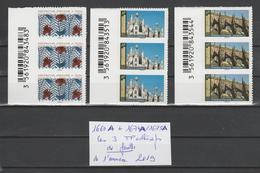 FRANCE / 2019 / Y&T N° AA 1660A ** + 1674A/1675A : Les 3 TP De Feuille Adhésive De L'année 2019 (3 TVP = 1LV + 2 LP) X 3 - Adhesive Stamps