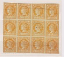 Año 1860 Edifil 52 Sello 4c Isabel II Bloque De 12 Sellos Tachado Con Tinta - Gebruikt