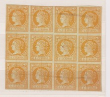 Año 1860 Edifil 52 Sello 4c Isabel II Bloque De 12 Sellos Tachado Con Tinta - 1850-68 Royaume: Isabelle II