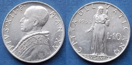 VATICAN CITY - 10 Lire 1953 Year XV KM# 52.1 Pius XII (1939-58)- Edelweiss Coins - Vaticaanstad
