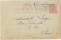 DRAPEAU SIMPLIFIE..R.F..PARIS N°5 PLACE DE LA REPUBLIQUE..1901.. DREYFFUSS. B005105.... VOIR SCAN - Poststempel (Briefe)