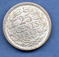Pays - Bas   -  25 Cents 1913   -  Km # 146  -  état  TB - 25 Cent