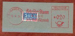 Ausschnitt, Absenderfreistempel, Stumm Zeche Minister Achenbach, Vorausentwertete Notopfermarke, Brambauer 1954 (82406) - BRD