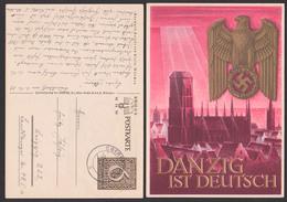 Danzig Ist Deutsch Marienkirche Adler Mit Hakenkreuz Card, Used Germany P287 Oberfrohna 2.12.39 - Interi Postali