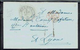 Suisse - Lettre De Biasca Du 2 Février 1856, Port Dû, Taxe Manuscrite 4 Décimes, Pour Lyon - B/TB - - Covers & Documents