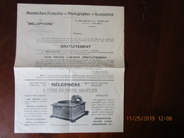 Publicité Manufacture Française De Phonographes Et Acc. LE MELOPHONE 5 Rue Brodu Paris XIVè,gramophone Pathé Idéal Aéro - Publicités