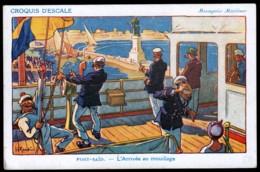 CPA ANCIENNE- FRANCE- PUB ILLUSTRATION SIGNÉE GERVESE- MESSAGERIE MARITIME- PORT-SAÏD- ARRIVÉE AU MOUILLAGE - Advertising
