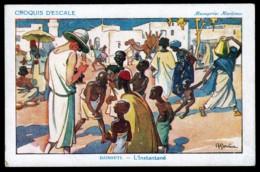CPA ANCIENNE- FRANCE- PUB ILLUSTRATION SIGNÉE GERVESE- MESSAGERIE MARITIME- DJIBOUTI- L'INSTANTANÉ- TRES ANIMÉ - Advertising