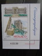 MONACO 1999 Y&T N° 2201 COIN DATE ** - CENTENAIRE DE LA POSE 1ere PIERRE MUSEE OCEAN. - Ungebraucht