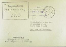 DDR-Dienst: Brief Mit ZKD Kastenstpl. Mit PLZ In Abw. Farbe Schwarz (statt Violett) Aus 92 Freiberg Vom 28.7.68 - Dienstpost