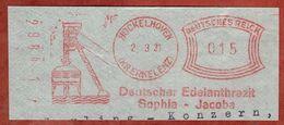 Ausschnitt, Absenderfreistempel, Deutscher Edelanthrazit Sophia-Jacoba, 15 Rpf, Hueckelhoven 1931 (82415) - Allemagne