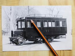 DE DION BOUTON AUTORAIL SUR SON APPAREIL DE RETOURNEMENT - PHOTOGRAPHIE ORIGINALE - TRAIN - Trains