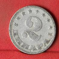 YUGOSLAVIA 2 DINARA 1953 -    KM# 31 - (Nº32436) - Yugoslavia