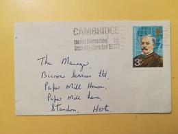 1973 BUSTA GRAN BRETAGNA GREAT BRITAIN BOLLO ESPLORATORI ANNULLO CAMBRIDGE OBLITERE' ETICHETTA - 1952-.... (Elisabetta II)