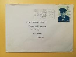 1974 BUSTA GRAN BRETAGNA GREAT BRITAIN BOLLO WINSTON CHURCHILL ANNULLO  OBLITERE' ETICHETTA CARAVAN - 1952-.... (Elisabetta II)