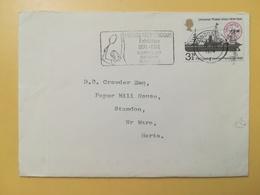 1974 BUSTA GRAN BRETAGNA GREAT BRITAIN BOLLO ANNIVERSARY U.P.U. ANNULLO LONDON OBLITERE' ETICHETTA TENNIS - 1952-.... (Elisabetta II)