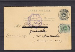 N° 45   / Entier De LIEGE Vers Le GUATEMALA  AMERIQUE CENTRALE  Entier Avec Reponse - 1869-1888 Lion Couché