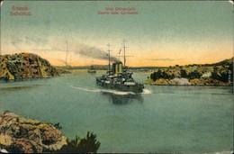 Sebenico Šibenik Panorama-Ansicht Mit Einfahrt Von Kriegsschiffen 1914 - Kroatien