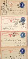 Mexico 4 Postal Cards MEPSI #PC44 Monterey Morelia Tlaxcala Guanajuato 1891-93 - Messico