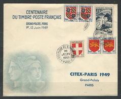 MZ-/-073-. CITEX PARIS - CENTENAIRE DU TIMBRE-POSTE FRANCAIS - 10 JUIN 1949 , Liquidation - Cachets Commémoratifs