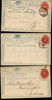 Mexico 3 Postal Cards MEPSI #PC52 Used Within Mexico And To USA 1891-94 - Messico