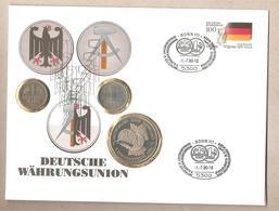Germania - Busta Storica Con Annullo Speciale Unificazione Germania - 1 Marco DDR + 1 Marco BRD + 1 Marco Germania Unita - [ 6] 1949-1990 : RDA - Rep. Dem. Tedesca
