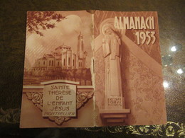 Almanach Ste Therese De L'Enfant Jesus Montpellier 1953 7x12 Cm Bon Etat - Calendars