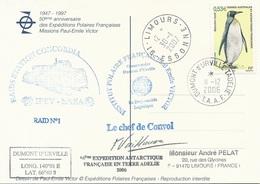TAAF - Dumont D'Urville-T.Adélie: Carte Illustrée PE Victor Avec Timbre N°446 Manchot Royal - 11/12/2006 - Franse Zuidelijke En Antarctische Gebieden (TAAF)