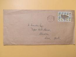 1977 BUSTA GRAN BRETAGNA GREAT BRITAIN BOLLO NATALE CHRISTMAS ANNULLO STORTFORD OBLITERE' ETICHETTA - 1952-.... (Elisabetta II)
