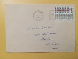 1977 BUSTA GRAN BRETAGNA GREAT BRITAIN BOLLO NATALE CHRISTMAS ANNULLO ST. EDMUNDS OBLITERE' ETICHETTA - 1952-.... (Elisabetta II)