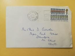 1977 BUSTA GRAN BRETAGNA GREAT BRITAIN BOLLO NATALE CHRISTMAS ANNULLO SOLIHULE OBLITERE' ETICHETTA - 1952-.... (Elisabetta II)