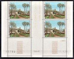 MONACO 1974 - BLOC DE 4 TP / N° 970 - NEUF** / COIN DE FEUILLE / DATE - Monaco