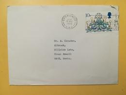 1980 BUSTA GRAN BRETAGNA GREAT BRITAIN BOLLO NATALE CHRISTMAS ANNULLO CRICKLEWOOD OBLITERE' ETICHETTA - 1952-.... (Elisabetta II)