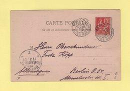Type Mouchon - Destination Berlin Allemagne - Menton - Alpes Maritimes - 14 Mars 1901 - Marcophilie (Lettres)