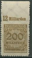 Deutsches Reich 1923 Korbdeckel Platten-Oberrand 323 BP OR A Postfrisch - Deutschland